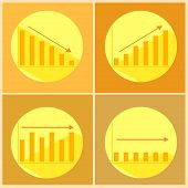 stock photo of stagnation  - Illustration of icons with flat graphics and arrows - JPG