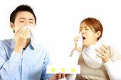 foto of rhinitis  - portrait of Japanese Couple suffers from allergic rhinitis - JPG
