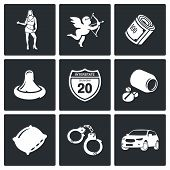 picture of whore  - selling love Icon collection isolated on a black background - JPG