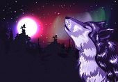 stock photo of wolf moon  - Abstract colorful northern landscape with moon and howling wolf - JPG