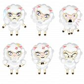 pic of chibi  - Set of cute sheep chibi style in different expressions - JPG