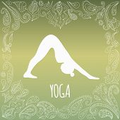foto of yoga instructor  - Yoga logo with heart frame and girl practicing Downward - JPG