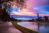 foto of mozart  - Evening view of the city of Salzburg Austria - JPG