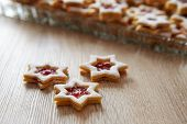 pic of linzer  - Stars Christmas Linzer cookies on the table