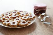 pic of linzer  - Closeup of Christmas Linzer cookies on the table