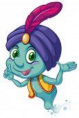 foto of genie  - Illustration of a blue genie smiling - JPG