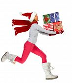 foto of crazy hat  - Happy running Woman with Xmas gifts isolated white background - JPG