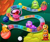 picture of alien  - Board game with numbers and aliens theme - JPG