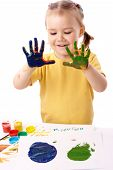Cute Child Paint Using Hands