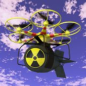 stock photo of nuclear bomb  - Flying drone to which is attached nuclear bomb - JPG