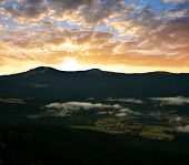 stock photo of grossed out  - Sunset over the Bavarian Forest National Park - JPG
