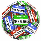 picture of common  - Hello I am a Team Player words on name tags or stickers in a ball or sphere to illustrate a group - JPG
