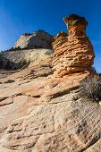 picture of hoodoo  - interesting sandstone formations in Zion National Park also known as hoodoos - JPG