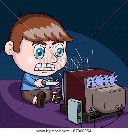 Boy plays video games