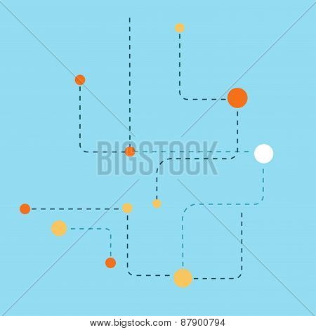 Abstract background of dotted lines and balls