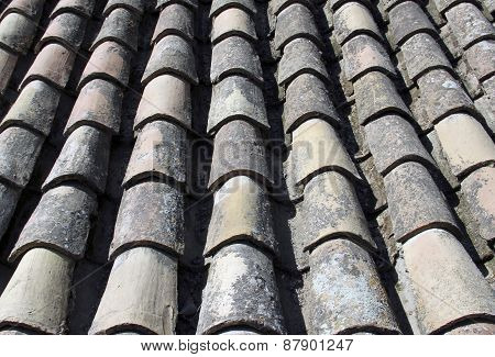 Tiled Roof Background From Old Spanish Ruins.