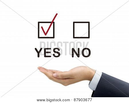Yes Chosen By Businessman's Hand