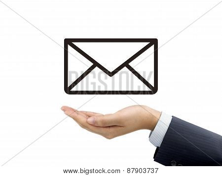 E-mail Icon Holding By Businessman's Hand