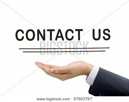 Contact Us Words Holding By Businessman's Hand