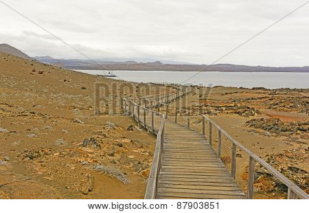 Boardwalk To The Ocean On A Volcanic Island