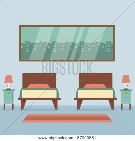 Flat Design Twin Beds Interior.