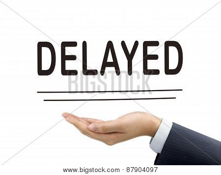 Delayed Word Holding By Businessman's Hand