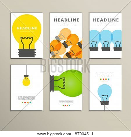 Six vector  line patterns brochures with lights