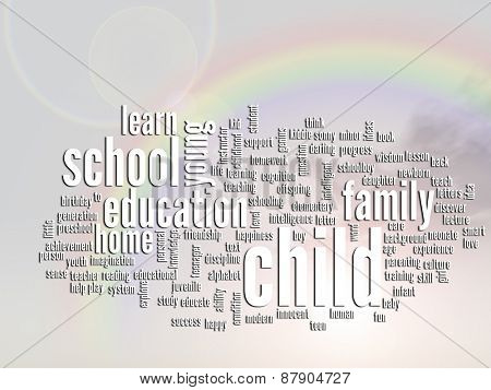 Concept or conceptual child and education abstract word cloud or wordcloud, rainbow sun background
