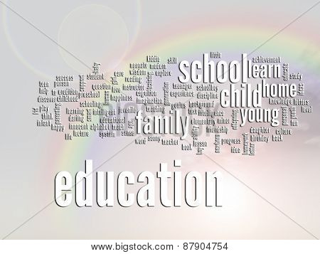 Concept or conceptual education abstract word cloud or wordcloud, rainbow sun background