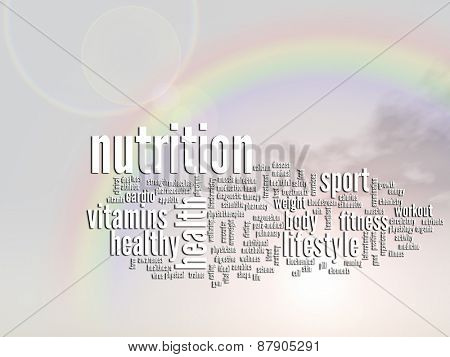 Concept or conceptual nutrition and health abstract word cloud or wordcloud, rainbow sun background