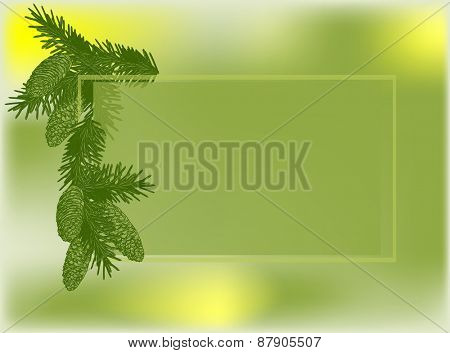 illustration with green fir branches