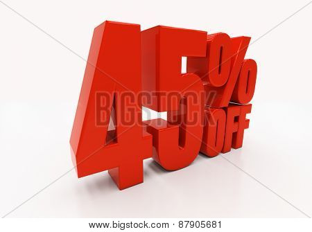 45 percent off. Discount 45. 3D illustration