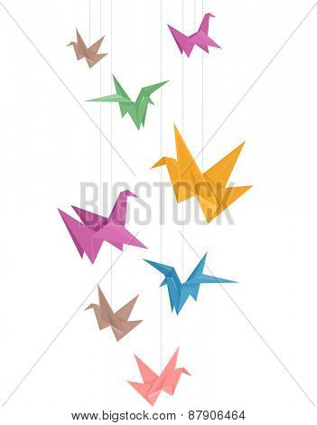 Illustration of Paper Cranes of Different Colors Hanging from Strings