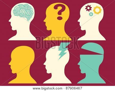 Illustration of Silhouettes Depicting Different Mental States
