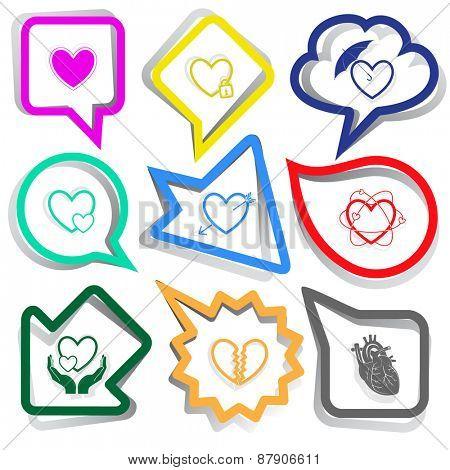 Heart shape set. Paper stickers. Raster illustration.
