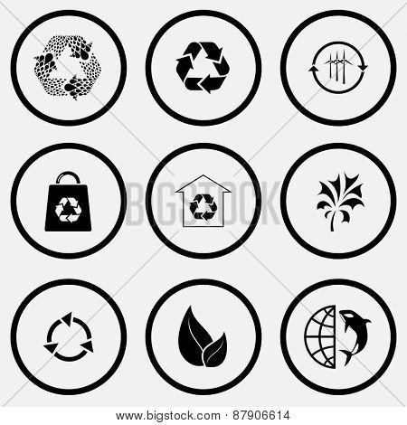 Ecology set. Black and white set raster icons.