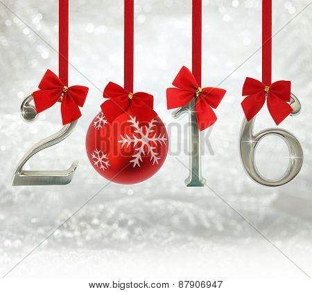 2016 number ornaments hanging on red ribbons in a glittery background