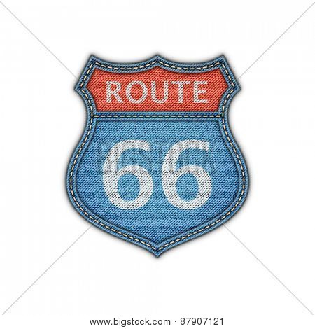 Route 66 Road Denim Sign.Vector Illustration