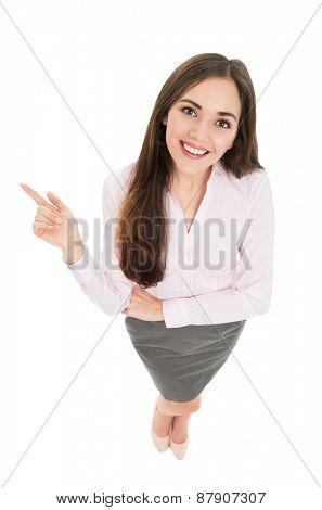 High angle view of young business woman
