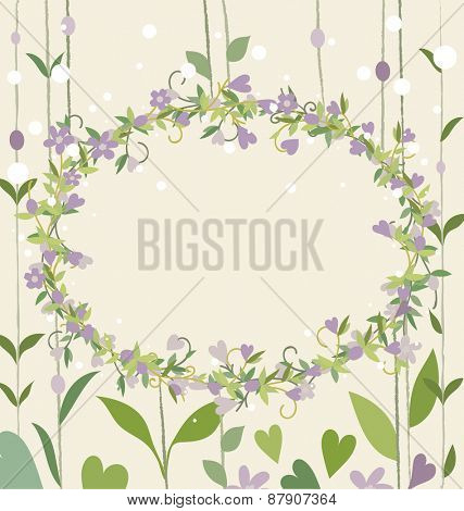 Floral bouquets with heart, vector illustration.