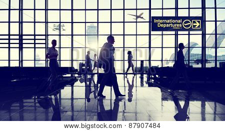 International Departure Terminal Business Travel Transportation Flight Concept