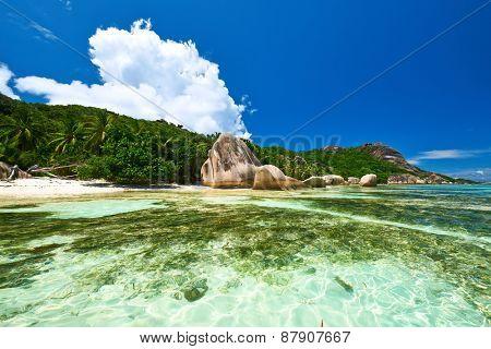 Beautiful beach at Seychelles, La Digue, Anse Source d'Argent