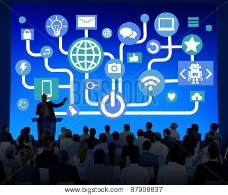 Global Communications Social Networking Business Seminar Online Concept