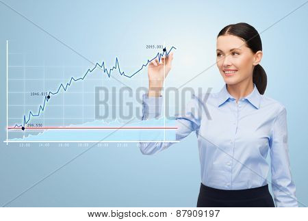 office, business, people and technology concept - businesswoman writing with marker and chart over blue background
