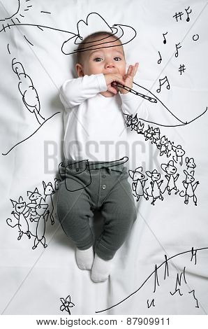 Cute baby boy depicting pied piper decoration sketch
