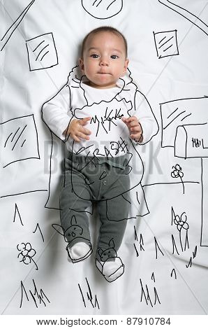 Cute baby boy taking out the garbage decoration sketch