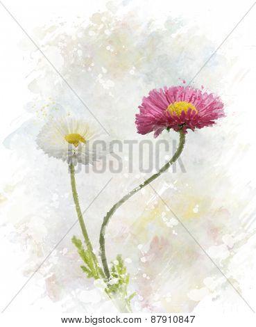 Digital Painting Of Spring Flowers