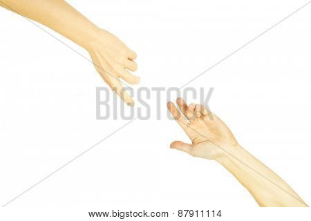 The man offers a hand to the woman on a white background