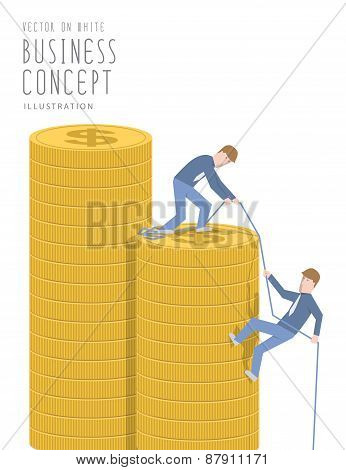 Businessman Helping His Friend Pull Up On The Pile Of Coins Flat Vector.