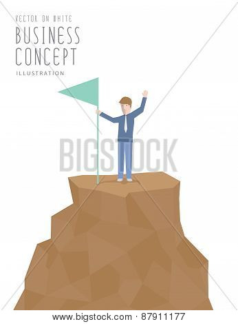 Businessman Holding Flag On Top Of Mountain. Business Success Concept Flat Vector.
